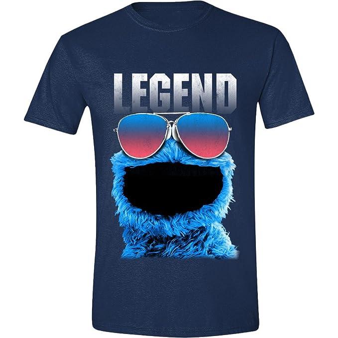 Sesame Street - Cookie Legend Hombres Camiseta - Armada Azul c993f078d49