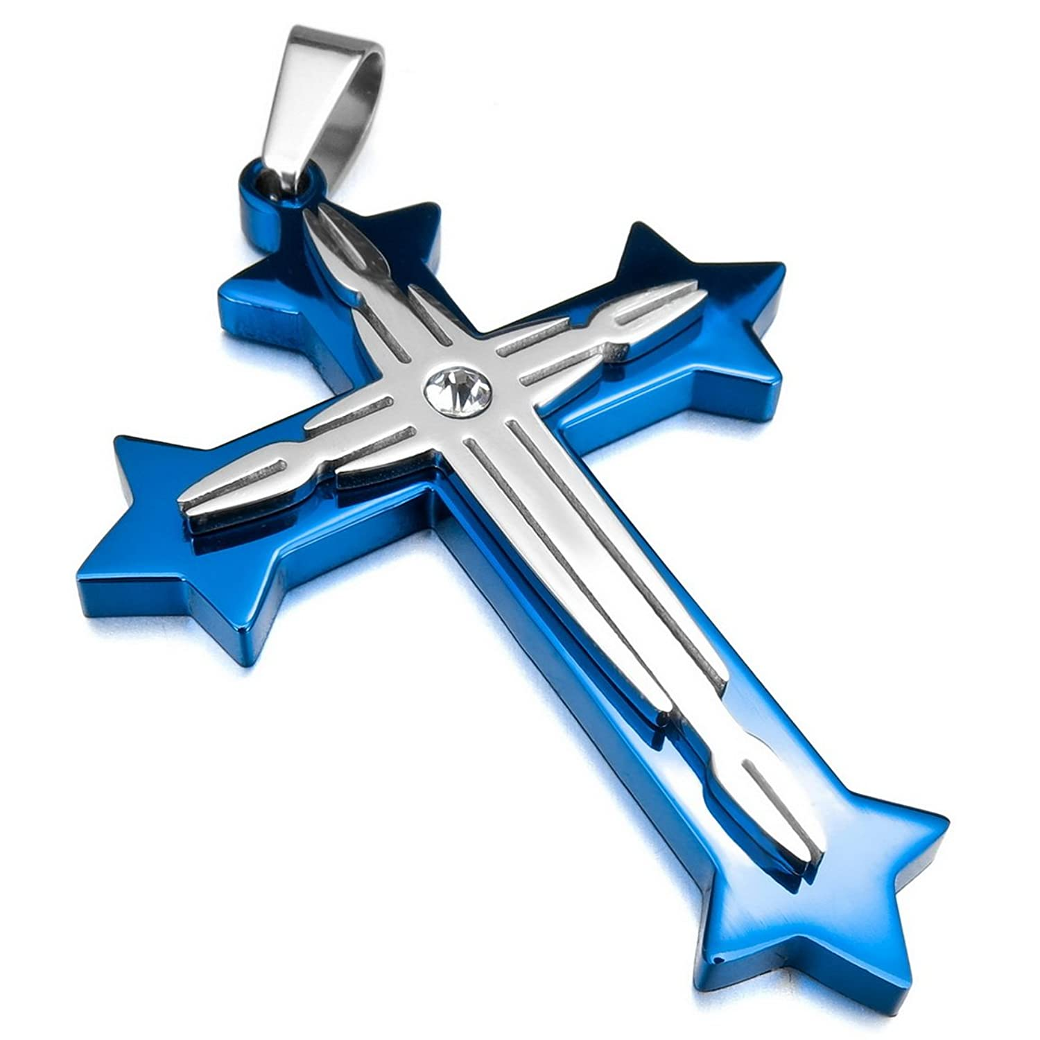 INBLUE Men's Stainless Steel Pendant Necklace CZ Silver Gold Two Tone Blue Cross -With 23 Inch Chain