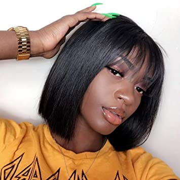 Amazon Com 12 Short Bob Wigs Brazilian Straight Human Hair Wigs With Bangs 100 Remy Human Hair Wigs 130 Density None Lace Front Wigs Glueless Machine Made Wigs For Black Women Beauty