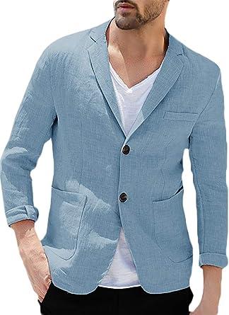Chaqueta de lino para hombre de ajuste entallado, informal, con textura, deportiva, a medida, versátil, solapa, traje ligero - - Large: Amazon.es: Ropa y accesorios