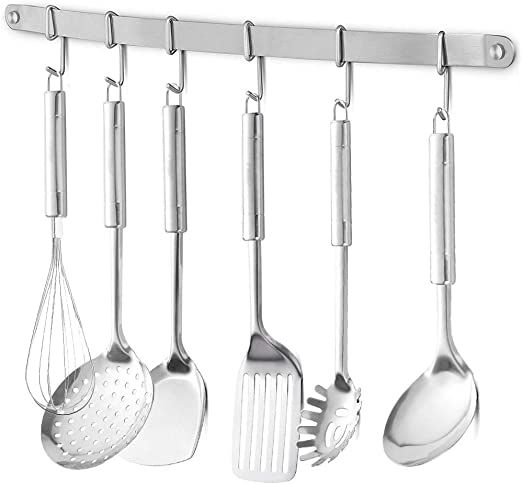 eForwish Stainless Steel Kitchen Utensil Racks Holder Hanging Rail Organize  Pots Pans Kitchen Knife Gadgets On Wall Mounted Hanger Bar Rail Under ...