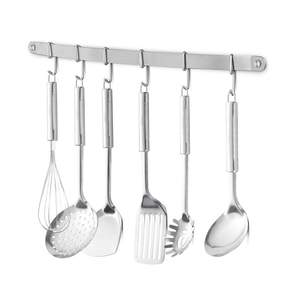 eForwish Stainless Steel Kitchen Tools Utensil Holder Hanging Rack Organize Pots Pans Kitchen Knife Gadgets On Wall Mounted Hanger Bar Rail Under Cabinet Shelf (6 Hook,17'')