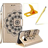 Rope Leather Case for Samsung Galaxy S6,Strap Wallet Case for Samsung Galaxy S6,Herzzer Bookstyle Classic Elegant Mandala Flower Pattern Stand Magnetic Smart Leather Case with Soft Inner for Samsung Galaxy S6 + 1 x Free Yellow Cellphone Kickstand + 1 x Free Yellow Stylus Pen - Gold
