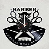 BARBERSHOP FOR MEN VINYL WALL CLOCK - Awesome gift for boyfriend or saloon owner - best purchase for husband or friends merchandise gifts in bedroom or salon - Hairstyle for brutal gentelmens