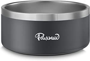 Felixmuc Stainless Steel Dog Bowl Non-Slip Dog Water Bowl Dog Food Bowls Pet Feeder Bowls for Large Medium Dogs Cats, Holds 64 Ounces Gray