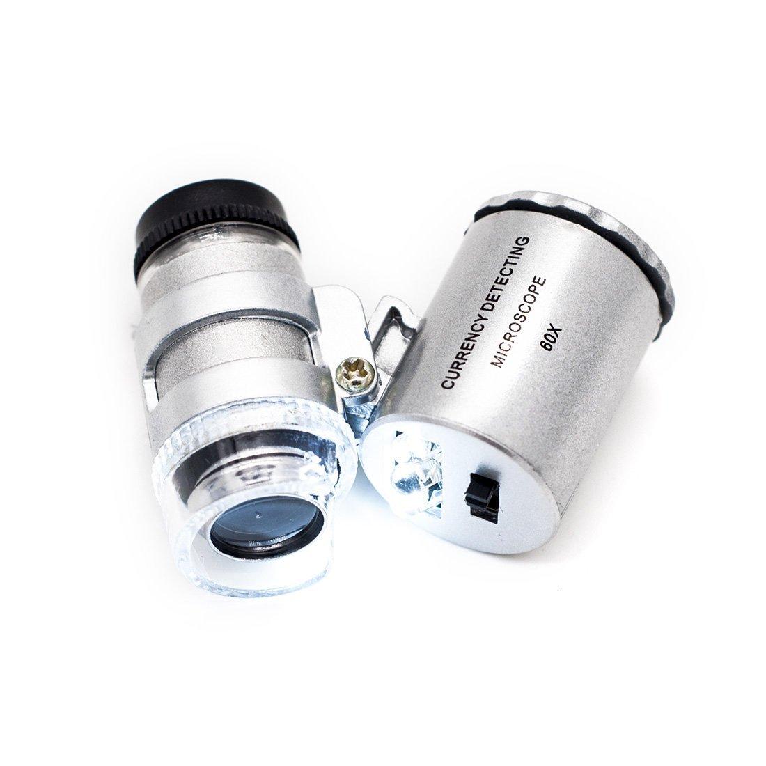 JLERU Mini microscopio LED 60x tascabile per gioielliere lente di ingrandimento