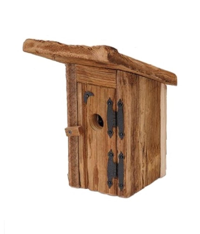 13.5  Eco-Friendly Natural 'Chester County' Outhouse Wooden Outdoor Garden Bird House