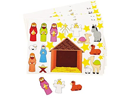 Christian Christmas Crafts.Amazon Com 12 Christian Nativity Sticker Sheets For Kids