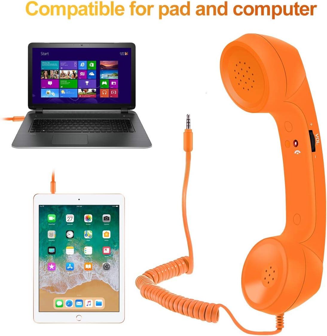 Cell Phone Handset Retro Telephone Handset Radiation Proof Handset Receiver 3.5mm for iPhone Computer Smartphone Orange Feeko Retro Handset iPad