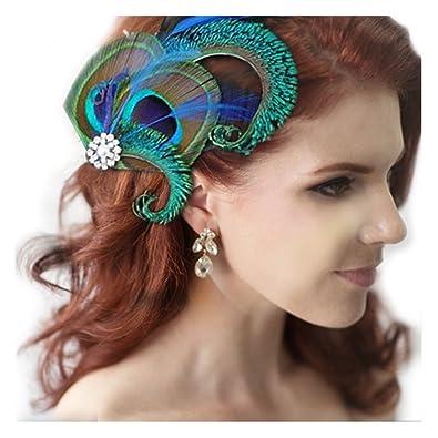 matériau sélectionné meilleures baskets luxuriant dans la conception Jelinda® Femmes Pince à Cheveux en Plume de Paon pour Mariage Accessoire de  cheveux