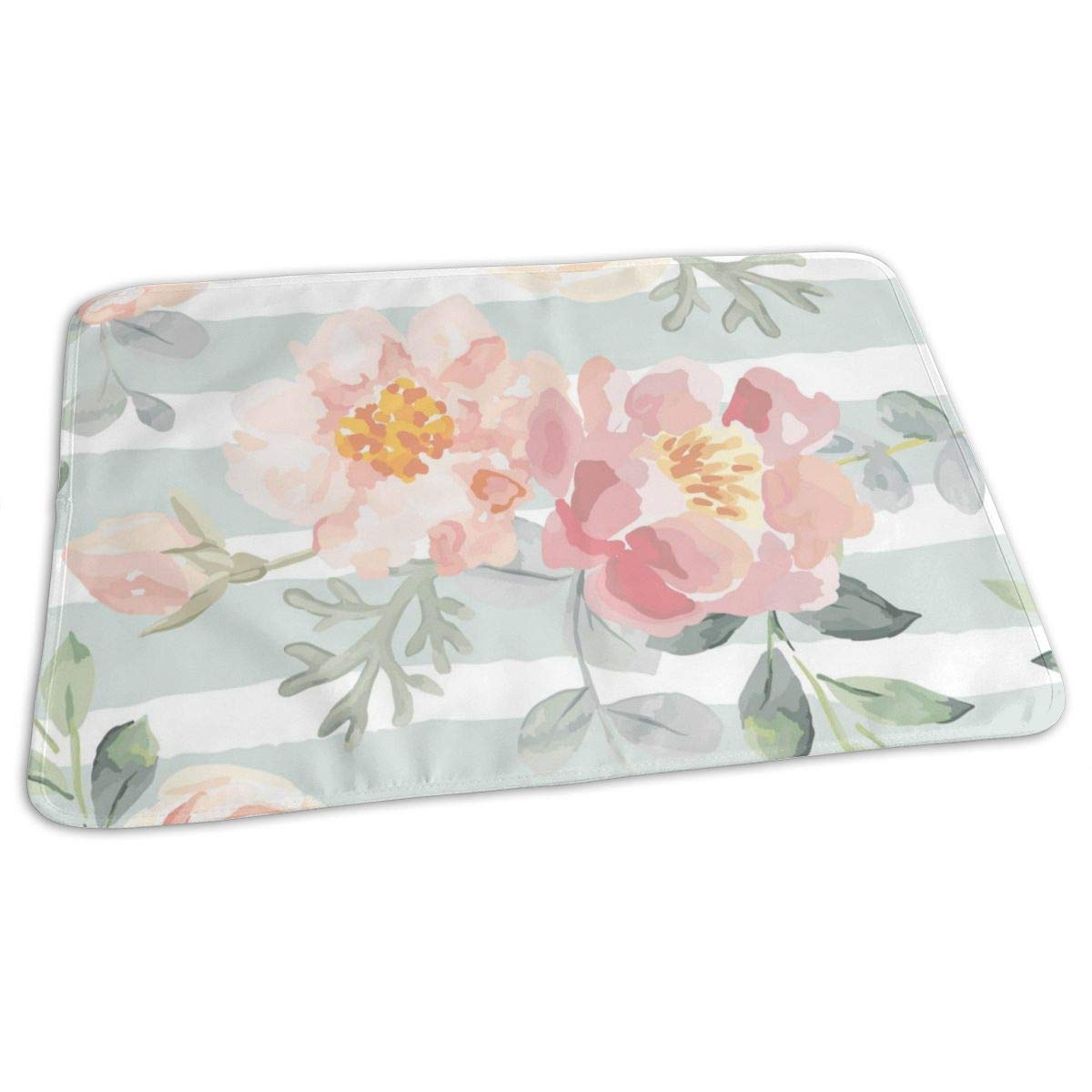 Osvbs Lovely Baby Reusable Waterproof Portable Pale Pink Roses and Peonies Changing Pad Home Travel 27.5''x19.7'' by Osvbs