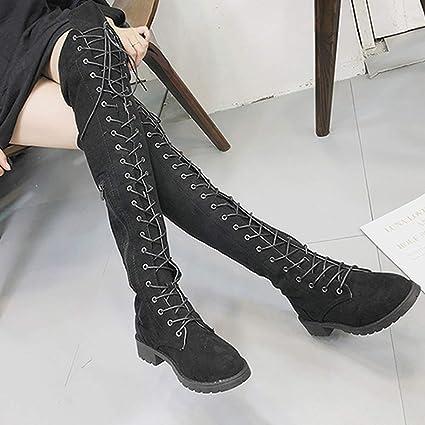 e46b5e72b40 Boots Women Cross-Tied Platform Shoes High Boots,Women Over The Knee ...