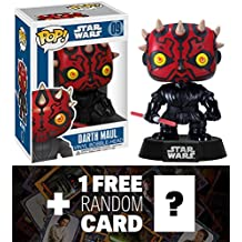 "Darth Maul: ~4"" Funko POP! Star Wars Vinyl Bobble-Head Figure w/ Stand + 1 FREE Official Star Wars Trading Card Bundle [23908]"