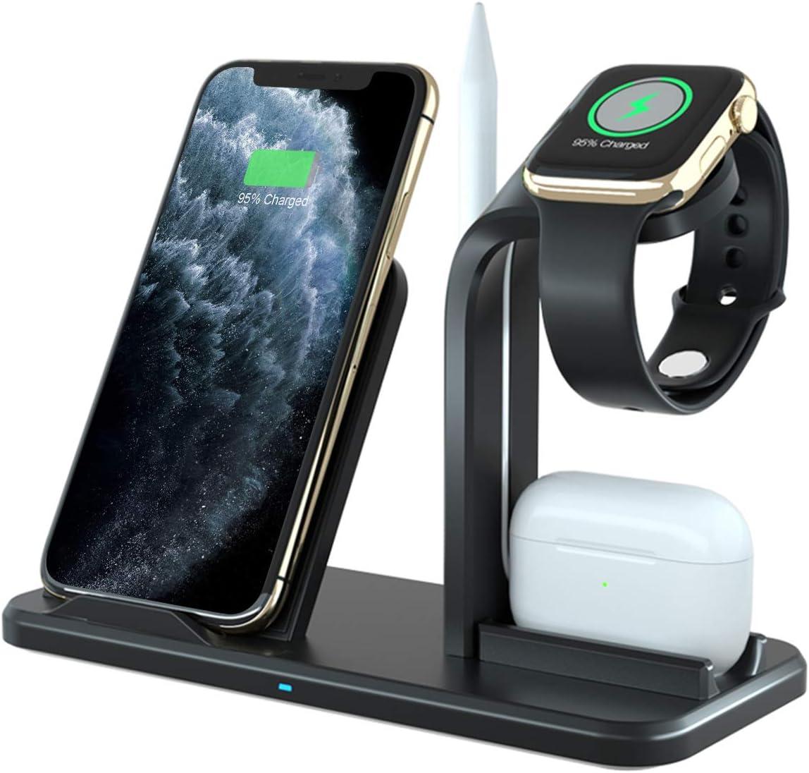 CARPURIDE Cargador Inalámbrico Rápido, [4 in 1] Qi Base de Carga para Apple Watch Series 1/2/3/4/5, AirPods, iPhone 11/11 Pro/11 Pro MAX/XS MAX/XR/X/8 Plus, Inalámbrica Carga para Galaxy S10 S9 S8