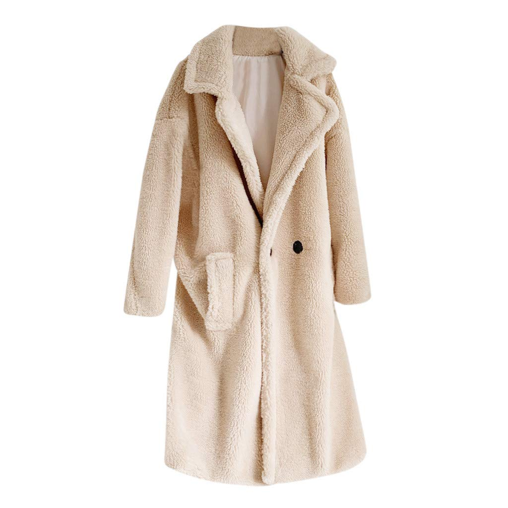hymyyxgs Womens Fashion Long Sleeve Lapel Faux Button Shearling Shaggy Coat Jacket with Pockets Warm Winter