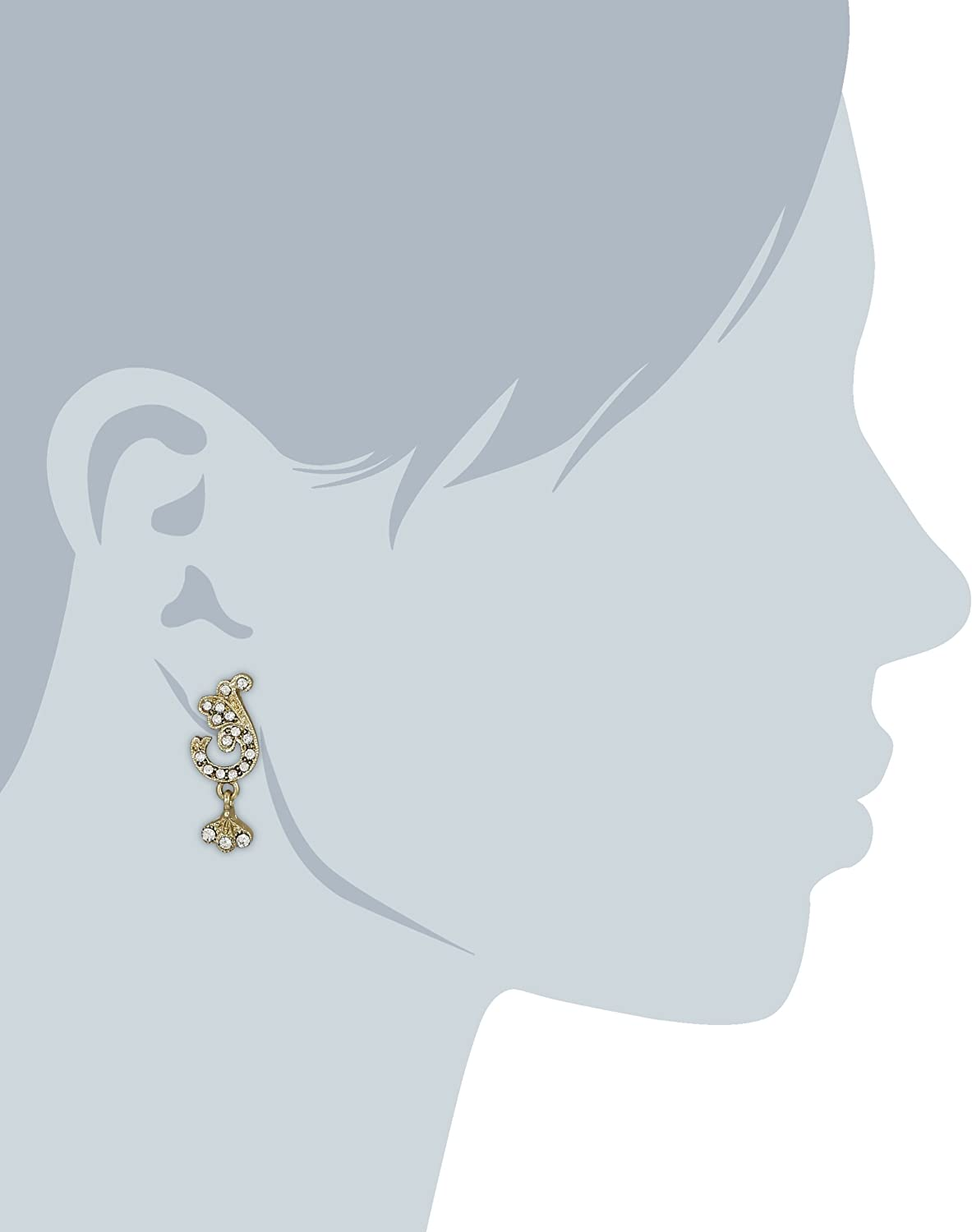 Downton Abbey Gilded Age Carded Gold-Tone Crystal Pave Scroll Leaf Accent Top Drop Earrings