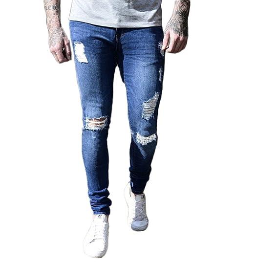 Hommes Extensible Jeans Skinny déchirés Détruits Tapis Slim Fit Denim  Pantalons Casual Jeans Pantalons de Mode e67428a8bd58