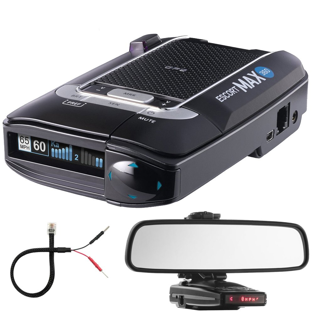 Escort Max 360 Radar Detector Bundle Includes, Car Mirror Mount Bracket For Radar Detectors + Radar Detector Mirror Wire Power Cord