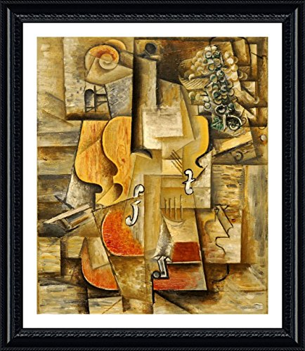 Alonline Art - Violin And Grapes Pablo Picasso Black FRAMED POSTER (Print on 100% Cotton CANVAS on foam board) - READY TO HANG | 29