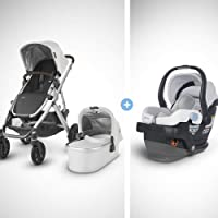 UPPAbaby 2018/19 model Vista Stroller-Bryce (White Marl/Silver/Chestnut Leather), includes MESA Infant Car Seat-Bryce…