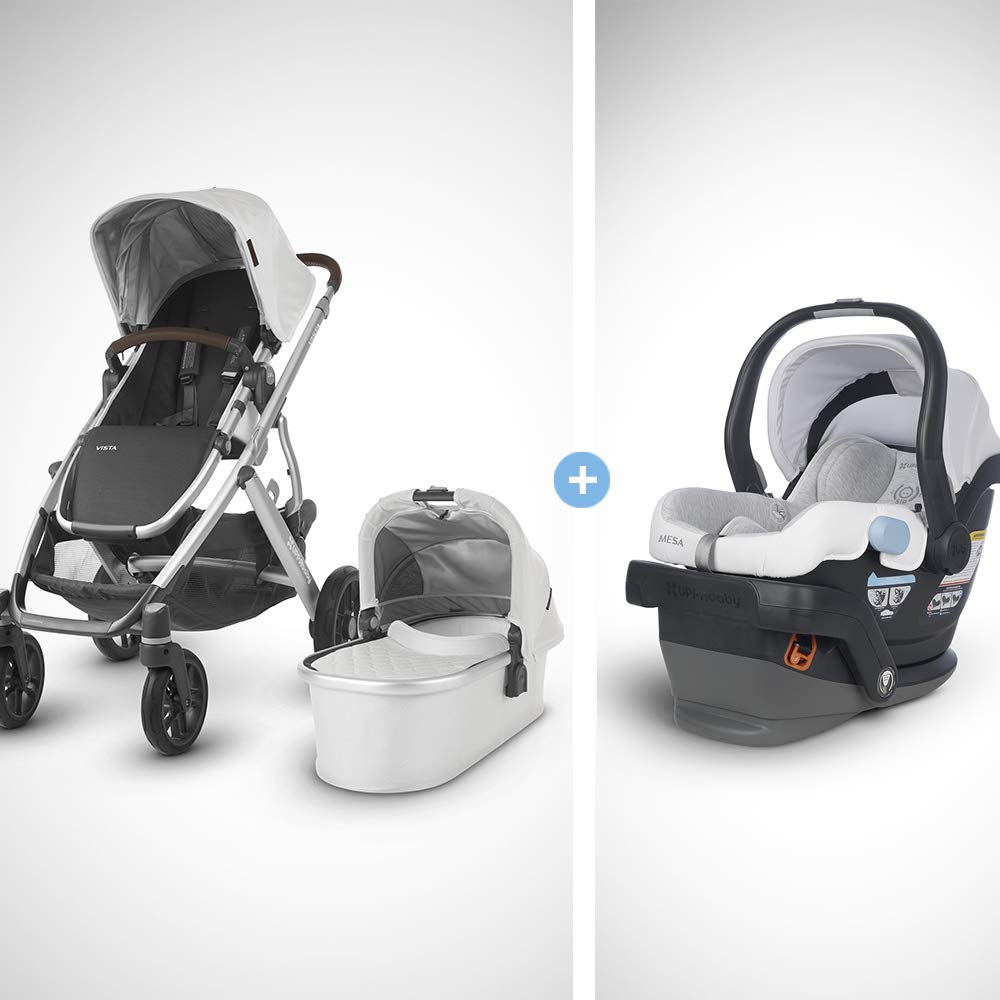 UPPAbaby Vista Stroller-Bryce White Marl Silver Chestnut Leather MESA Infant Car Seat-Bryce White Grey Marl , Bryce