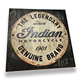 Indian Motorcycle Vintage-Style Wood Slated Sign, Black & White with Domed Studs