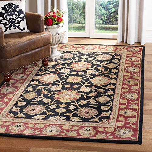 Heritage Collection Oval Rug - Safavieh Heritage Collection HG112A Handcrafted Traditional Oriental Black and Red Wool Area Rug (3' x 5')