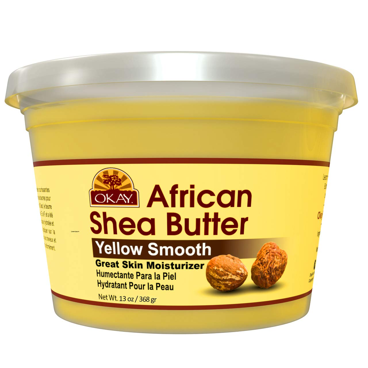Okay Smooth All Natural,100% Pure Unrefined Daily Skin Moisturizer For Face & Bodym Yellow, Shea Butter, 16 oz