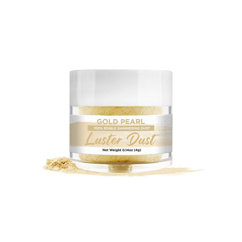 BAKELL Gold Pearl Edible Luster Dust & Paint, 4 Gram | LUSTER DUST Edible Powder | KOSHER Certified Paint, Powder & Dust | 100% Edible & Food Grade| Cakes, Cupcakes, Vegan Paint & Dust (Gold Pearl)