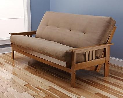 andover full size futon sofa bed honey oak wood frame suede innerspring mattress amazon    andover full size futon sofa bed honey oak wood frame      rh   easyconvertiblefuton