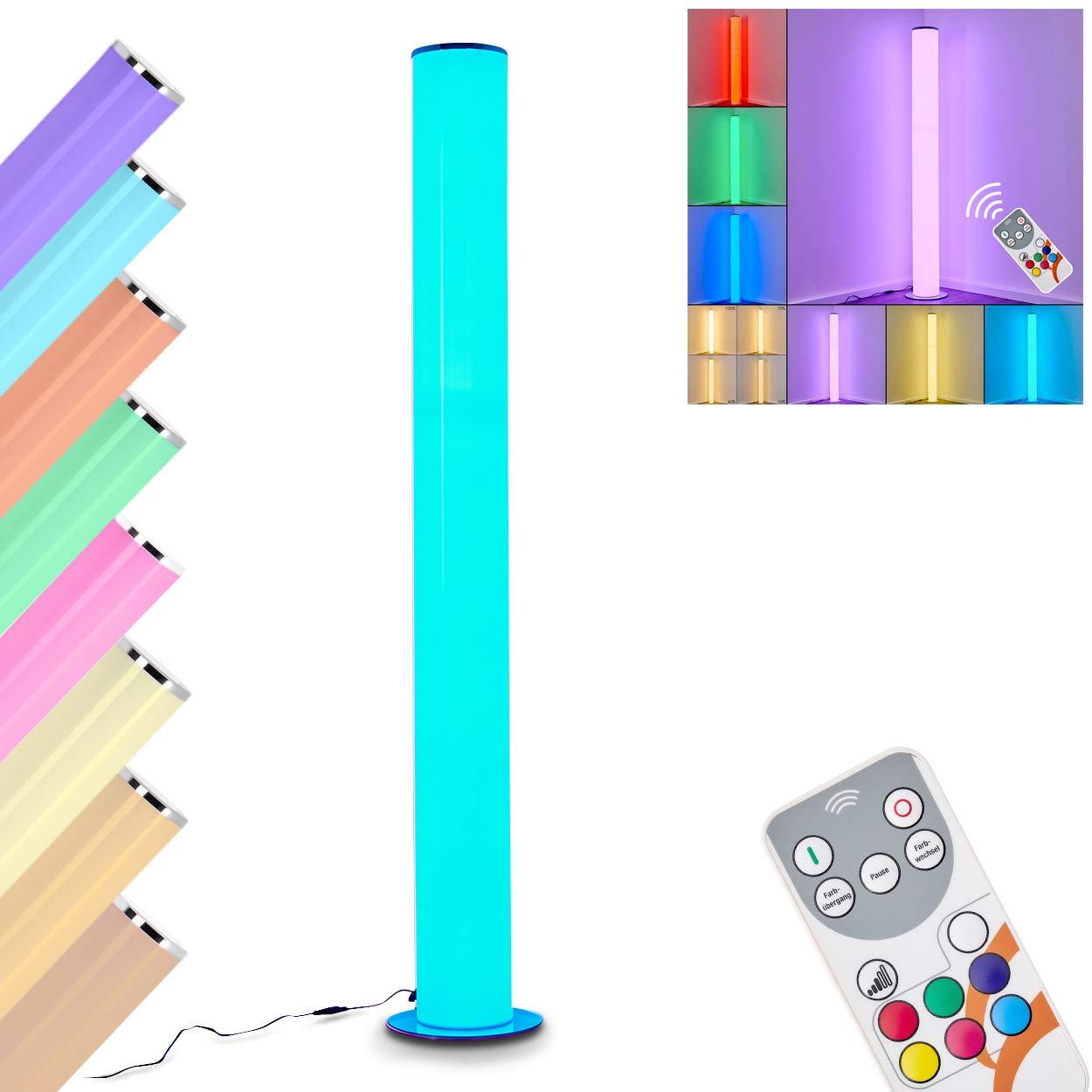 LED Stehleuchte Hemsdal aus Metall silber, Bodenlampe mit Fernbedienung für Schlafzimmer, Wohnzimmer - Die RGB LEDs beliebig angesteuert werden, die weiße Beleuchtung ist in 3 Stufen dimmbar