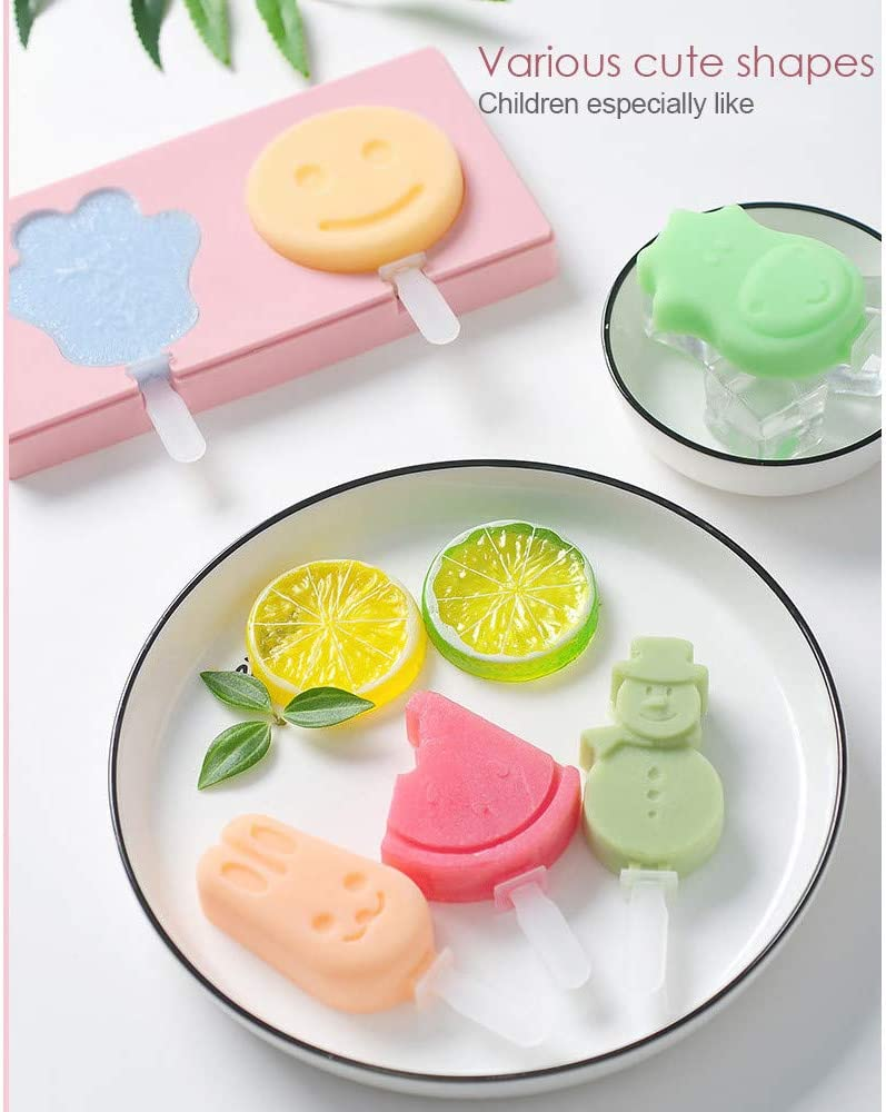 JZ Popsicle Molds with Lid,Ice Cream Bar Mold DIY Ice Cream Maker Cute palm pineapple fruit shape,Set of 3