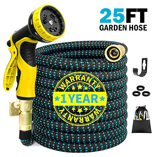 COLAM 25ft Expandable Black Blue Garden Hose, Flexible Expanding Hose Extra Strength Fabric Outdoor, Water Hose with 3/4 inch Solid Brass Fittings 9 Function Yellow Spray Pattern Nozzle