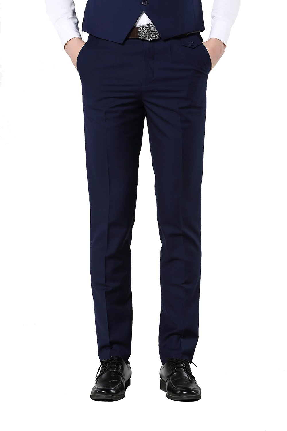 UNINUKOO Men's Colorful Casual Suit Pants Slim Fit US Size 38 (Label Size 3XL) Navy
