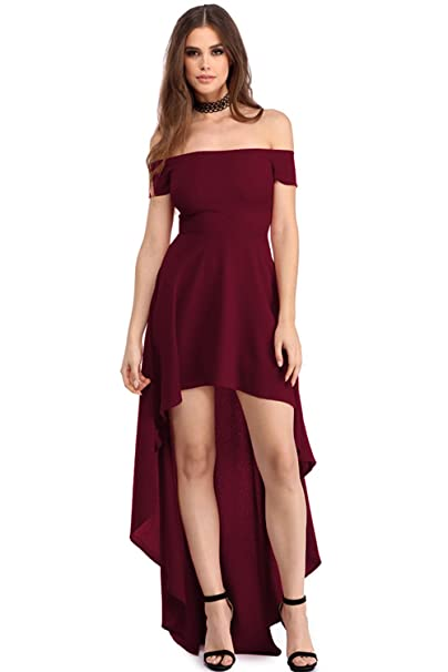 Mujer Color Sólido Elegante Irregular Largo Vestido Fiesta Elegante Sin Tirantes Vestidos Playa Manga Corta Vino