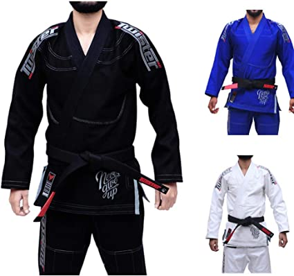 Brazilian Jiu Jitsu Gi for Mens WHITE//BLACK Pearl Weave 100/% Cotton Preshrunk