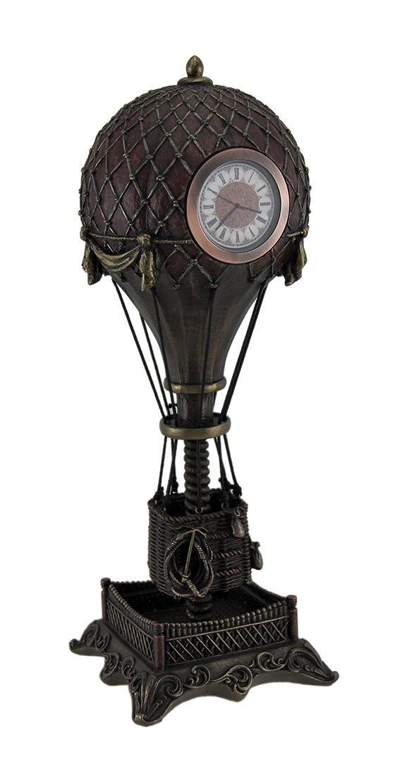 Resin Table Clocks Time Flies Steampunk Hot Air Balloon Clock Tower Statue 12 Inch 4.25 X 12 X 4.25 Inches Bronze