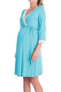 Yacun Vestido Lactancia Maternidad de Noche Camisón Verano Premamá Pijama