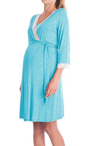 Yacun Vestido Lactancia Maternidad de Noche Camisón Verano Premamá Pijama Azul Claro S