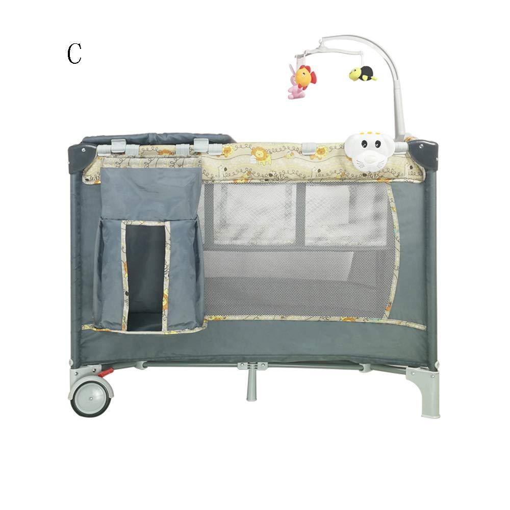 XIAOMEI ポータブル折り畳み式ベビーベッド多機能ベビーベッドステッチシェーカー-6スタイルオプション-120 * 60 * 76CM (色 : C)  C B07LBS1BDR
