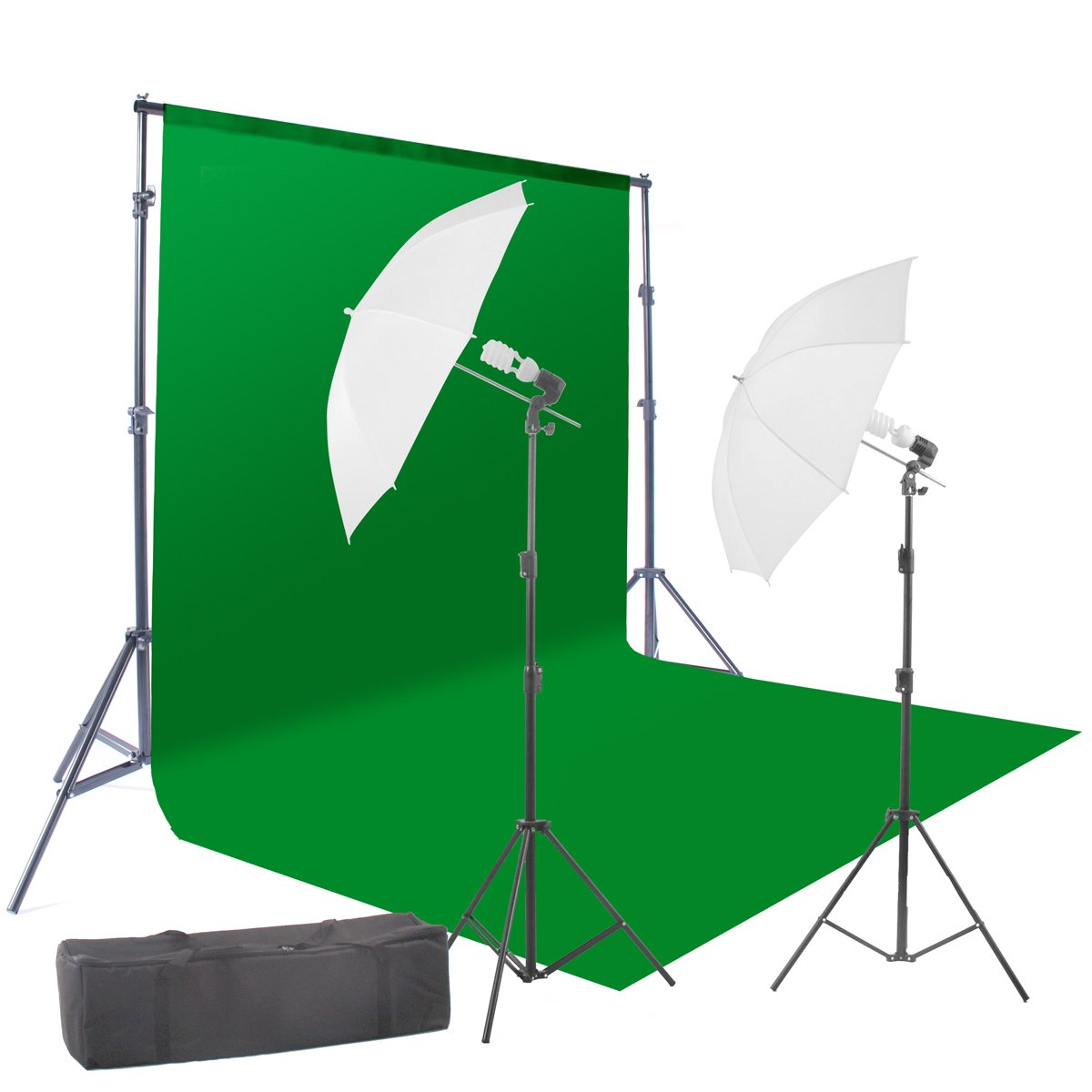 StudioFX 400W Chromakey Green Screen 6ft x 9ft Backdrop Photography Video Lighting Kit - Background Support System Included - by Kaezi CH69G by StudioFX