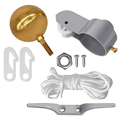 """FLAG POLE PARTS REPAIR KIT 2/"""" Diameter Truck Pulley Halyard Cleat Clips Rope New"""