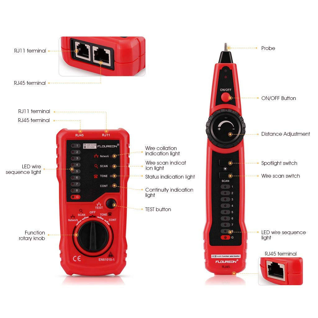 FLOUREON RJ45 Network Cable Tester RJ11 Ethernet Tester Cable Tracer Wire Tracer LAN Tester Cat5 Cat6 Wire Cable Detector with LED Torch Earphone Battery Included