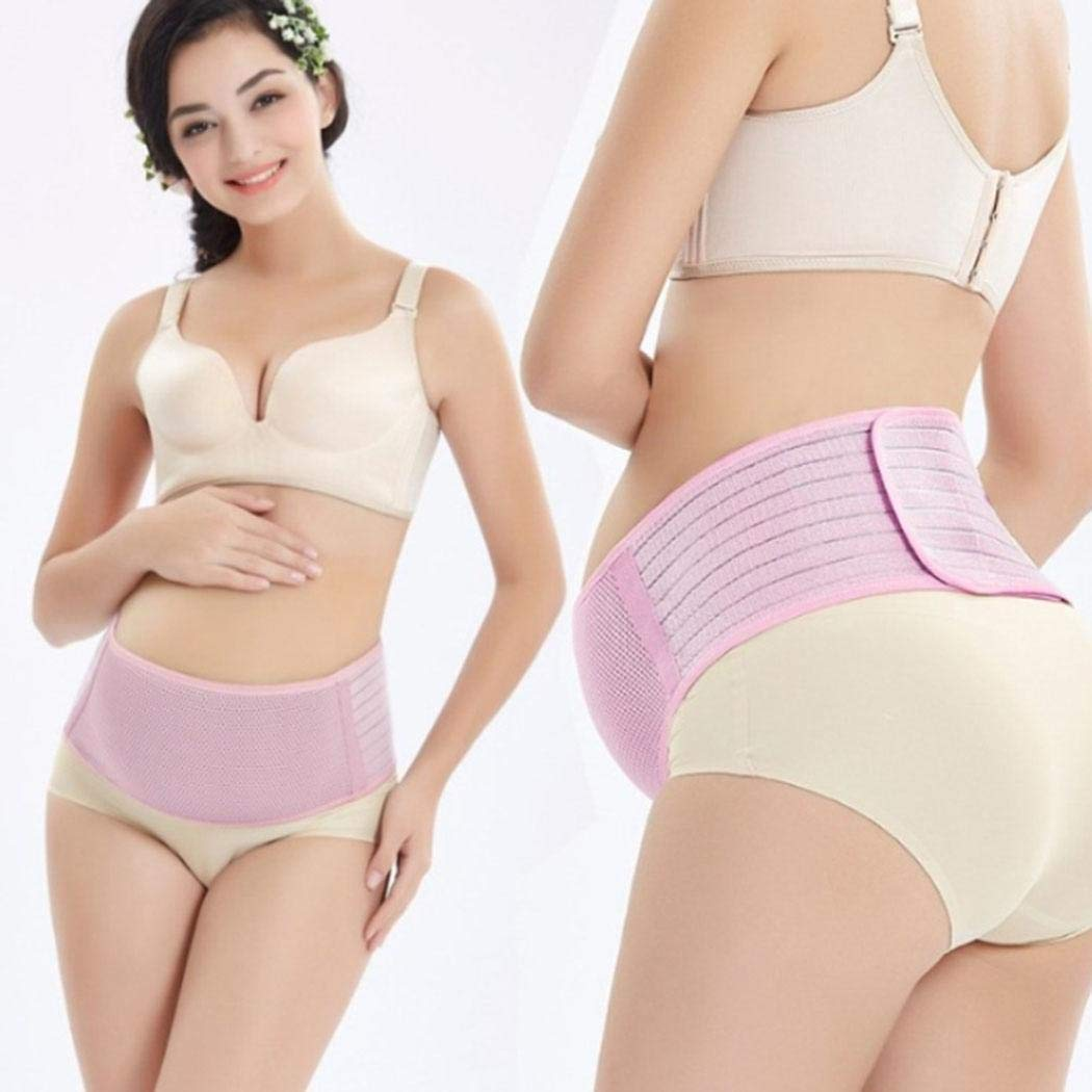 Miseku Women Casual Soft Breathable Adjustable Patchwork Fastening Tape Maternity Belt Prenatal Monitoring Devices
