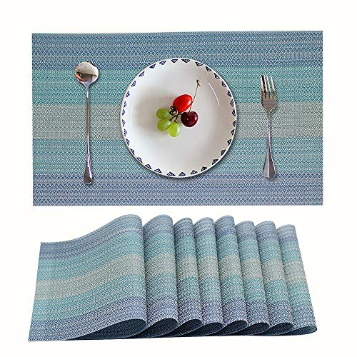 Candumy Placemat Blue Table Mats,Heat Stain and High Temperature Resistant;Anti-Skid Washable Non-Slip Insulation; Crossweave Woven Textilene Vinyl PVC Tablemats for Kitchen and Dining Set of 8(Blue)