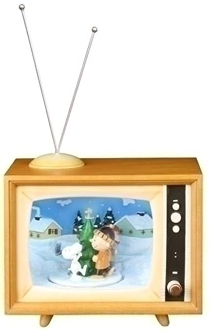 roman 7 musical animated peanuts winter scene tv box christmas decoration - Christmas Tv Decoration