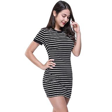 05e704c79 Halijack Womens Dresses, Summer Fashion Striped Skinny Pencil Dress O Neck  Short Sleeve Mini Dress Casual Party Beach Dress Ladies Office Business  Dress: ...