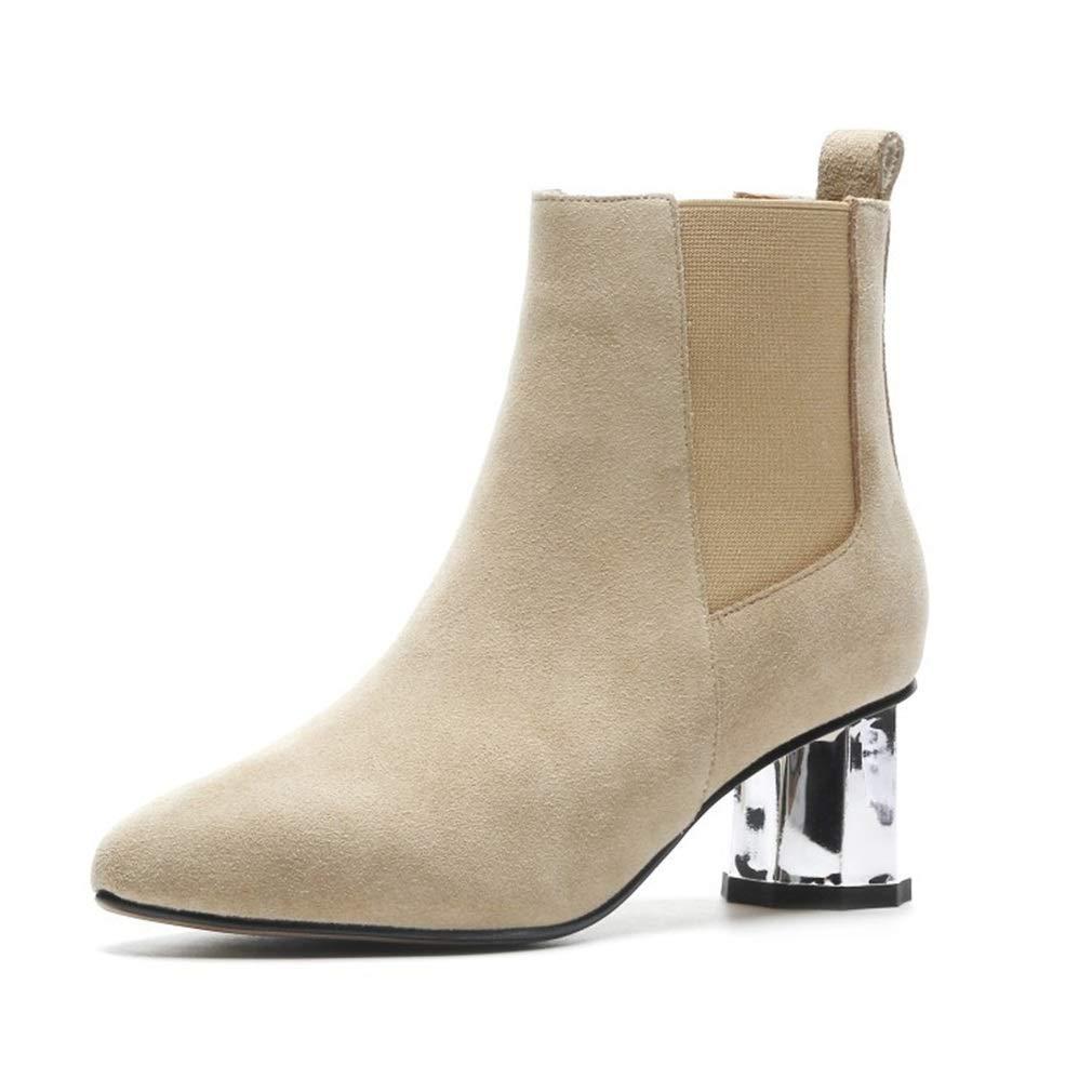 Beige Yanyan Chaussures pour Femmes en Daim Nouvelles Bottes d'hiver Martin Chaussures à tête Ronde Chaussures à Talons Hauts Chaussures de nouveauté Chaussures de Ville Chaussures habillées