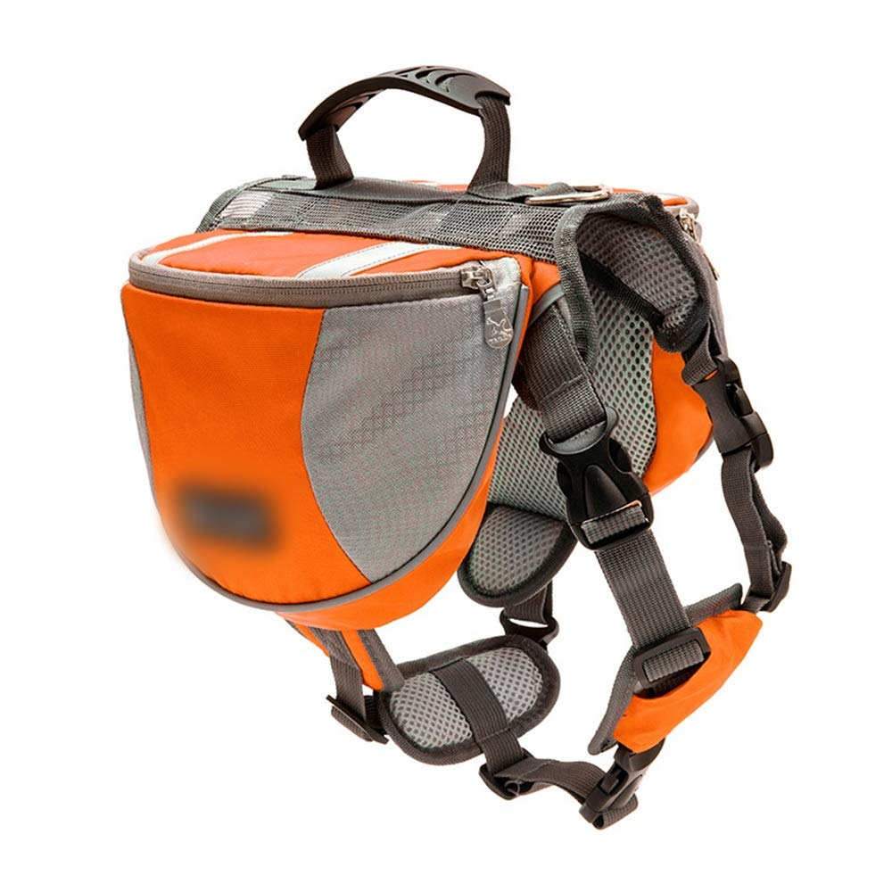 orange L orange L HOUYAZHAN Pet Bag Dog Fashion With Reflective Strips Double Backpack (color   orange, Size   L)