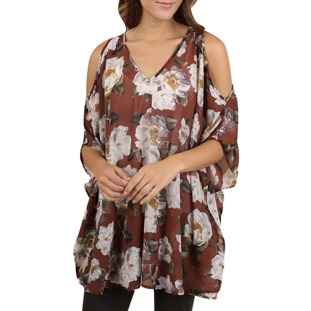 Gyoume Women Plus Size Blouse Tops Cold Shoulder Tops Summer Floral Print Blouse Top (XL, Wine)